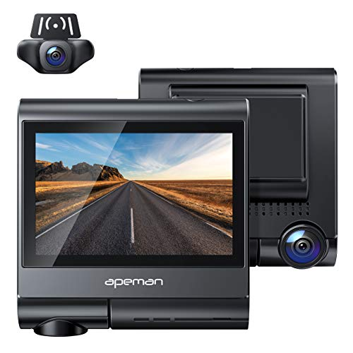 APEMAN 4K Touch Screen Dash Cam, 1920x1080P Front and Rear Dash Camera for Cars, Built-in GPS &...