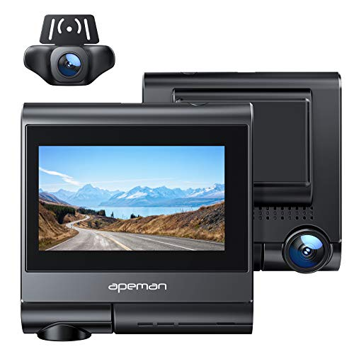 APEMAN Touch Screen Dual Dash Cam Built-in GPS, Wi-Fi, 1920x1080P Front and Rear Car Camera, 2160P...