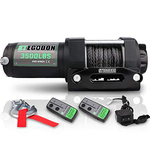 STEGODON 3500 lb. Load Capacity Electric Winch,12V Synthetic Rope Winch with Wireless Handheld...