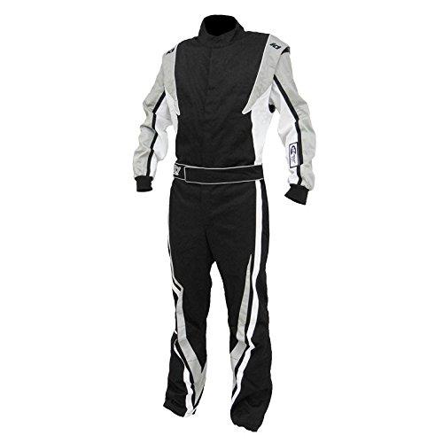 K1 Race Gear SFI 3.2a/1 Victory Auto Racing Suit (Black/White/Grey, Medium/Large)
