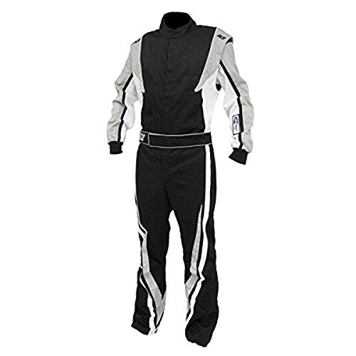 K1 Race Gear SFI 3.2a/1 Victory Auto Racing Suit (Black/White/Grey, Medium/Large)