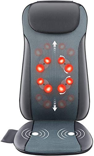 Rolli-Fit Shiatsu Back Massager with Heat, 2D&3D Kneading Full Back Massager with 8 Massage Nodes,...