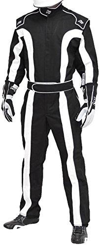 K1 Race Gear Triumph 2, Single Layer SFI-1 Proban Cotton Fire Suit (Black/White, X-Large)