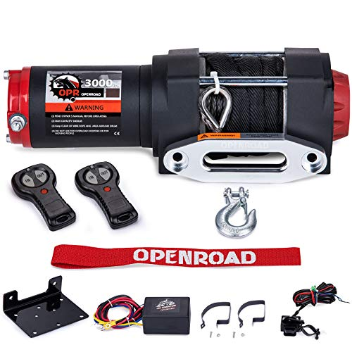 OPENROAD 12V 13000lbs Electric Winch with Wire Steel Cable,4x4 Truck Winch Kit with Wireless Remote Control 85ft Steel Cable Winch