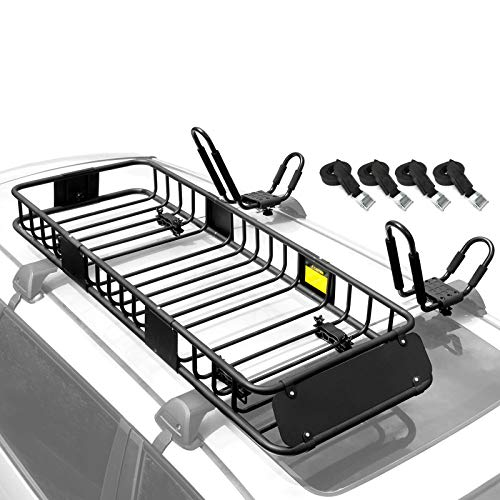 XCAR 64'x23'x6' Roof Rack Rooftop Cargo Basket + Kayak Rack 2pcs/Set with 4 Straps for Suif Board,...