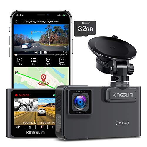 Kingslim D1 Pro Dual Dash Cam with Wi-Fi GPS, 2.5K/1080P Front and Cabin Dash Camera for Cars, Dual...