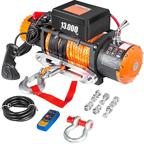 VEVOR ATV UTV Winch Kit Truck Winch 13000LBS 12V Electric Winch with 26m/85FT Synthetic Rope, Black...