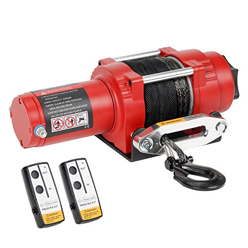 Ayleid 4500lb 12V DC Electric Winch Kit- with33ft Synthetic Rope and 2 Wireless Remote Control, for...