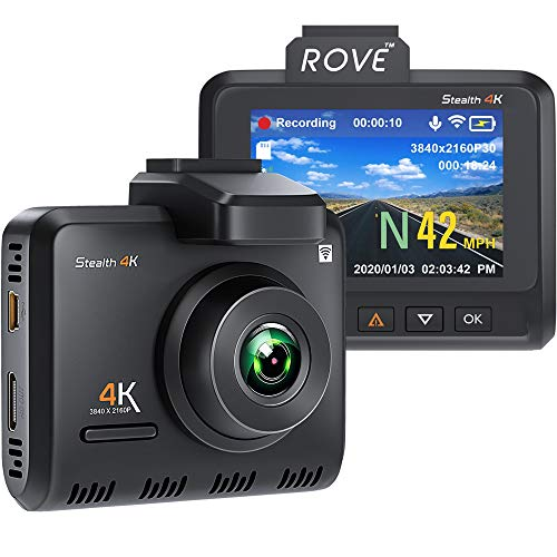 Rove Stealth-4K Pro Dash Cam - UHD 3840x2160P 8MP CMOS True 4K Dash Camera for Cars with Built-in...