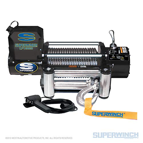 Superwinch 1510200 LP10000 Winch, 10,000lbs/4536kg Single line Pull with Roller Fairlead, and 12'...