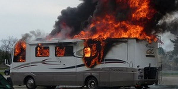 RV on Fire after leaving the heater on