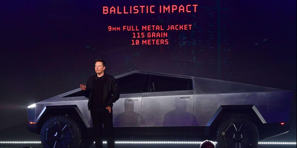 Elon Musk unveiling the Tesla Cybertruck