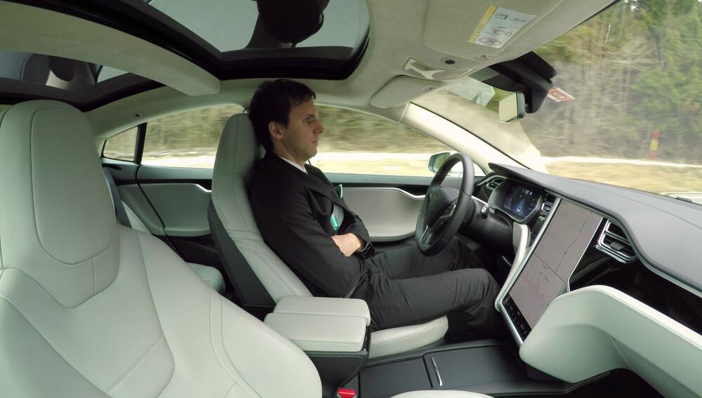 guy driving on autopilot