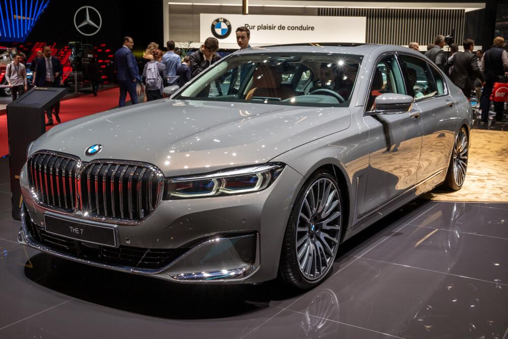 grey BMW 7 Series car showcased at the 89th Geneva International Motor Show.