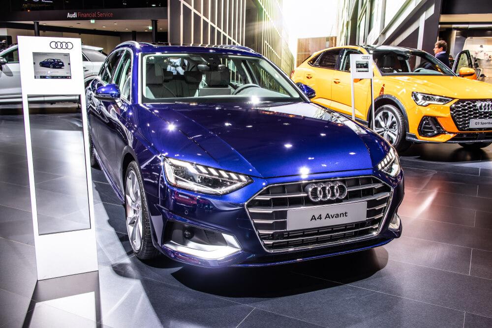blue 2020 Audi A4 at a car show.