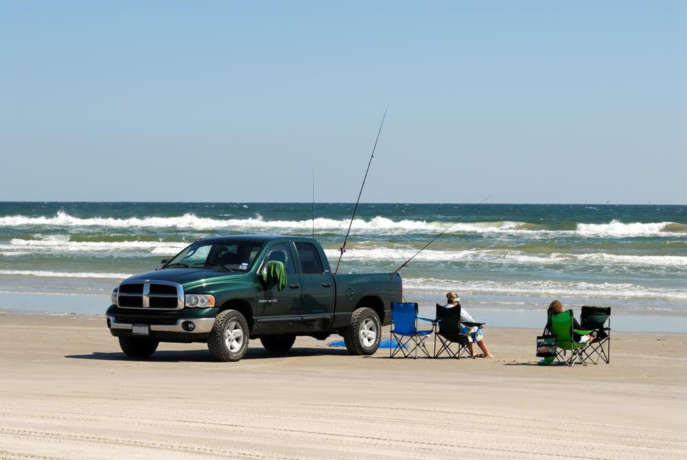 Pickup truck on the beach of Padre Island, Texas. - pickup trucks rust