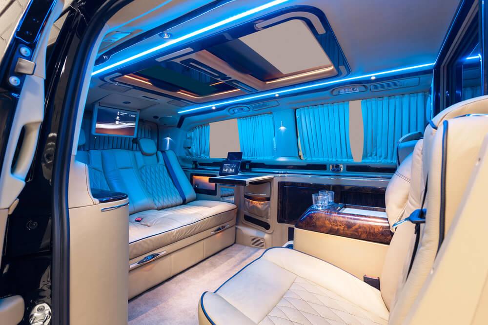 posh interiors of a luxury car.