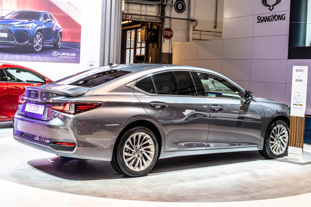 space grey 2020 Lexus ES Hybrid at a car show.