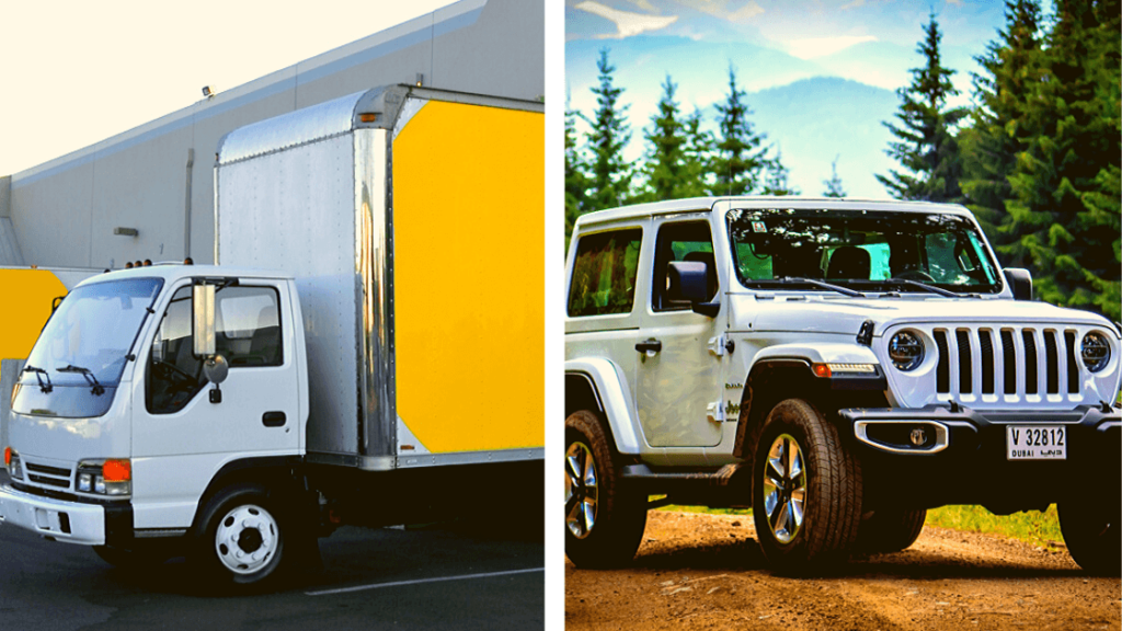 white box truck and white Jeep Wrangler - trucks and jeeps