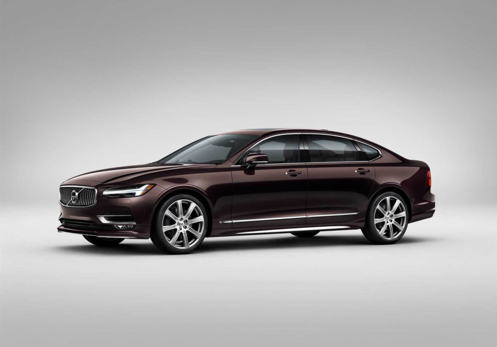 maroon 2020 Volvo S90-T8, isolated with grey background.