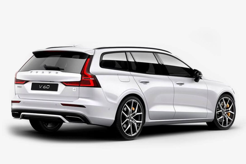 rear side view of a white 2020 Volvo V60 T8, isolated, white background.