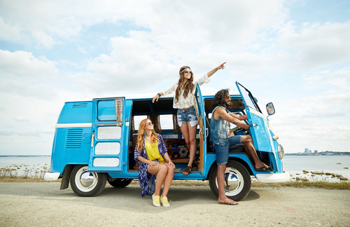 Teens In A Volkswagen Bus